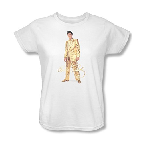 [Elvis Presley - Womens Gold Lame Suit T-Shirt In White, XX-Large, White] (Gold Elvis Suit)