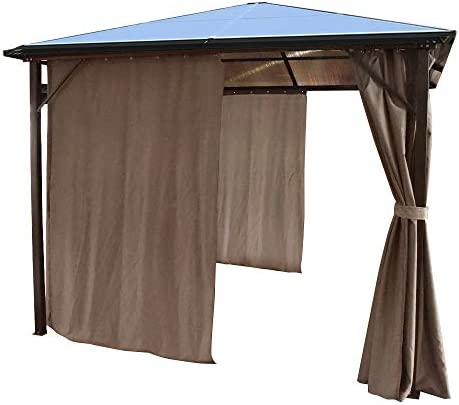 Volowoo - Cenador Permanente con Cortinas (3 x 3 m, policarbonato Ahumado, Resistente a la Intemperie): Amazon.es: Jardín