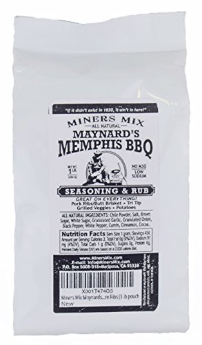 Miners Mix Maynards Memphis BBQ Rub No MSG Low Salt 1 lb pouch