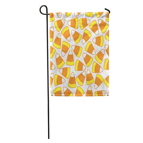 Semtomn Garden Flag Orange Halloween Candy Corn Pattern Yellow Autumn Color Cute Dessert Home Yard House Decor Barnner Outdoor Stand 12x18 Inches Flag -