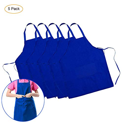 Yiba Made Blue Aprons (5 Pack) Waterproof Aprons for Women Men with Pockets Water Resistant Durable Personalized Aprons for BBQ Kitchen Cooking Baking Crafting Restaurant