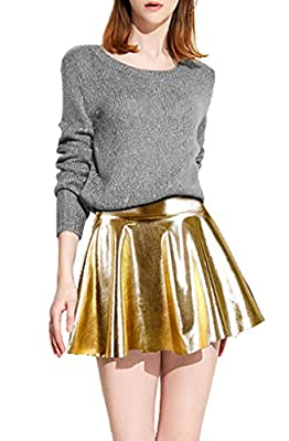 D Diana Dickson Women's Liquid Faux Leather Skater Mini Skirt