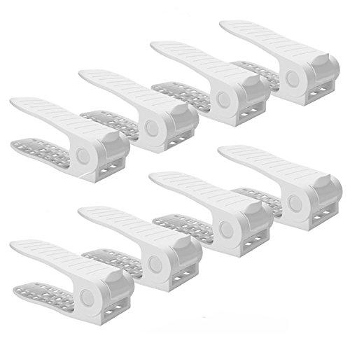 BASHUO Shoe Slots Organizer, Home Double Layer Shoe Slots Organizer-Space Saver Rack Holder for Shoes Adjustable Shoe Slotz Space Saver Storage Rack Holder(8-Pack white)