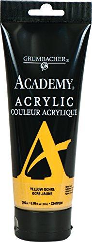 Grumbacher Academy Acrylic Paint, 200ml/6.8 oz. Plastic Tube, Yellow Ochre Light Hue (C244P200)