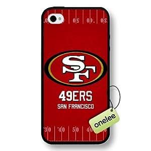 NFL San Francisco 49ers Team Logo Case For Iphone 4/4S Cover Black Hard Plastic Case CovBlack