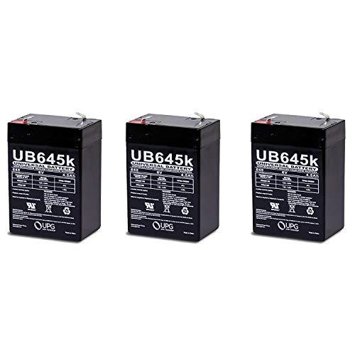 Universal Power Group 6V 4.5Ah General 00648 Sealed Non-Spillable Emergency Light Battery WKA6-5F - 3 Pack