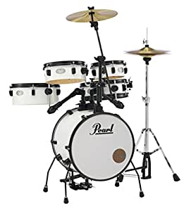 pearl rhythm traveler rt565 5 piece drum set with stand and cymbals pure white. Black Bedroom Furniture Sets. Home Design Ideas