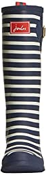 Joules Women\'s Welly Print Rain Boot, Navy Stripe, 9 M US