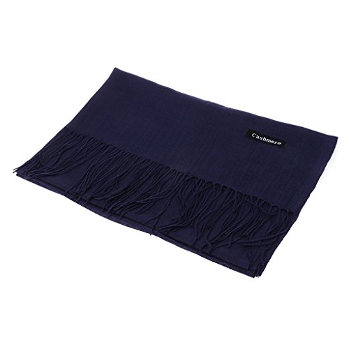 Richi Fashion Blend Cotton Linen Adults Tassel Scarves Warm Winter Shawl For Men Women Couple scarf (Dark Blue) by Richi