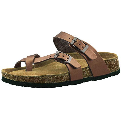 LA PLAGE Girl Women's Toe Ring Adjustable Flat Slip On Cork Sandals for Summer 7 US Bronze