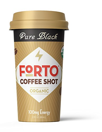 (FORTO Coffee Shots - 100mg Caffeine, Pure Black, High Caffeine Cold Brew Coffee, Bottled Fast Coffee Energy Boost, 6 Pack)