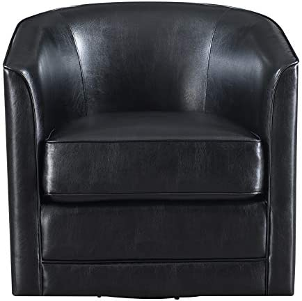 Artum Hill Swivel Accent Chair with Faux Leather Upholstery, Welt Trim, and Barrel Back Home-Office-Furniture, Black