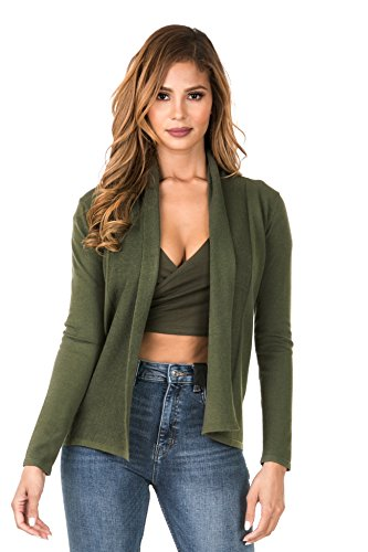 iliadusa 7022 Women Plus Size Basic Long Sleeve Open Front Cardigan Sweater (S-3XL) Olive (Fitted Cardigan Sweater)