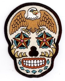 (Sunny Buick - Eagle Sugar Skull - Embroidered Patch)