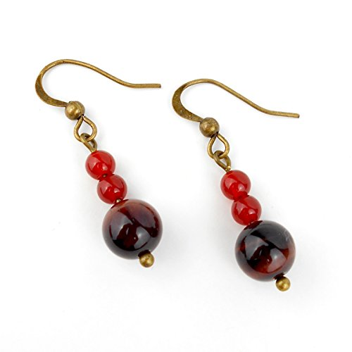 Red Tiger Eye & Red Carnelian Drop Earrings in Antique bronze or Silver tone