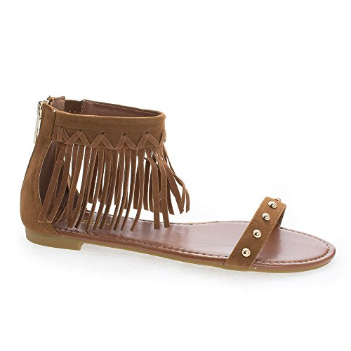 Candice53M Chestnut Moccasin Open Toe Studded Ankle Fringe Cuff Flat Sandals-8.5