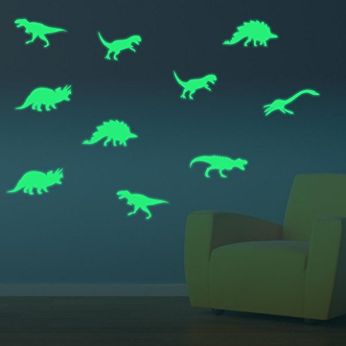 Ankola 9 Pcs Glow In The Dark DIY Wall Stickers Removable Luminous Dinosaur Wallpaper Decal Decor for Living Room Bedroom Home Decor (Green)