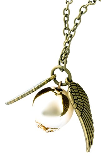 Quidditch Golden Flying Snitch Replica Necklace (Bronze Wings) (Harry Potter Snitch)