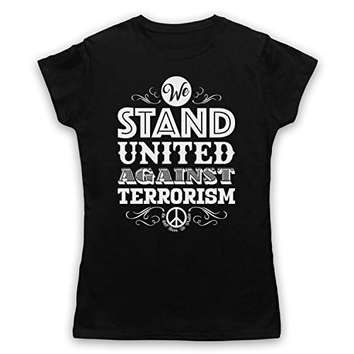 We Stand United Against Terror We Will Never Be Broken Camiseta para Mujer Negro