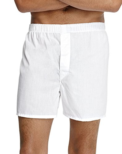 Hanes TAGLESS Men's Full-Cut Boxer with Comfort Waistband, Pack Of 4, White, L (Cheap Wholesale Items)