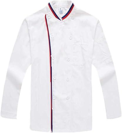 WYCDA Camisa de Cocinero Moda Transpirable Uniforme Cocina Diseño de Doble Botonadura Escote Cómodo Apto para Restaurantes del Hotel Unisexo Manga Larga,S: Amazon.es: Hogar