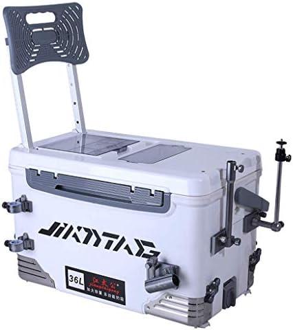 アクセサリーシート付きフィッシングボックス36リットル大容量の断熱フィッシングボックスは、携帯電話の隠しバックを充電可能アルミニウムフィッシングギアアクセサリー収納