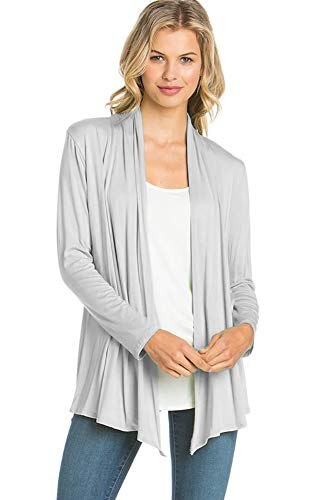12 Ami Basic Long Sleeve Open Front Cardigan Silver L