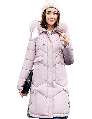 Quilted Jacket Coat Hood Long Fur Slim Women Puffer Faux Pink COMVIP U6Hq0Yw6