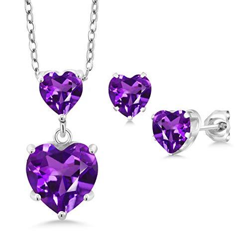 - Gem Stone King 2.60 Ct Heart Shape Purple Amethyst 925 Sterling Silver Pendant Earrings Set