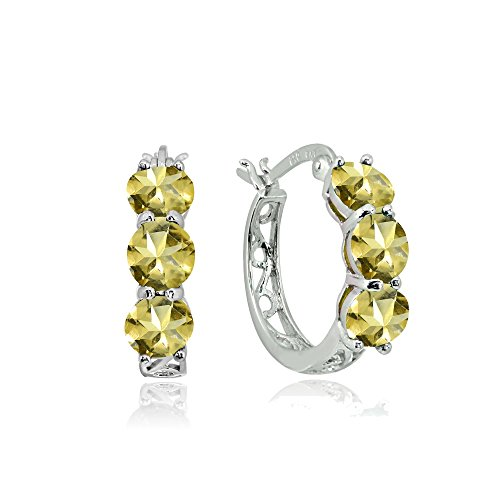Sterling Silver Citrine Round Filigree Three Stone Hoop ()
