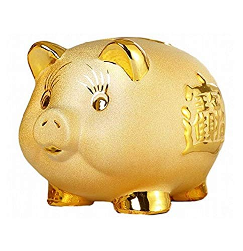 xiulin Savings Bank Ceramics Golden Pig Piggy Bank Money Box Coin Bank Living Room Decoration Multi Size (L)