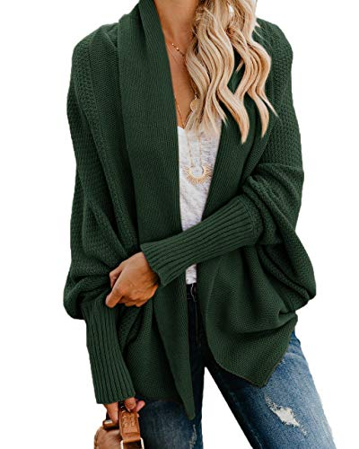 Ybenlow Womens Kimono Open Front Cardigan Sweaters Batwing Sleeve Shawl Collared Oversized Sweater Cloak Outwear Green