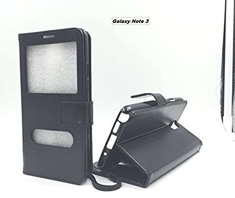 For Samsung Galaxy Note 3 Window View Leather Flip Wallet Style Case Cover Stand For Samsung Galaxy Note 3 (Double Window (Galaxy Note 3 Phone Case Black)