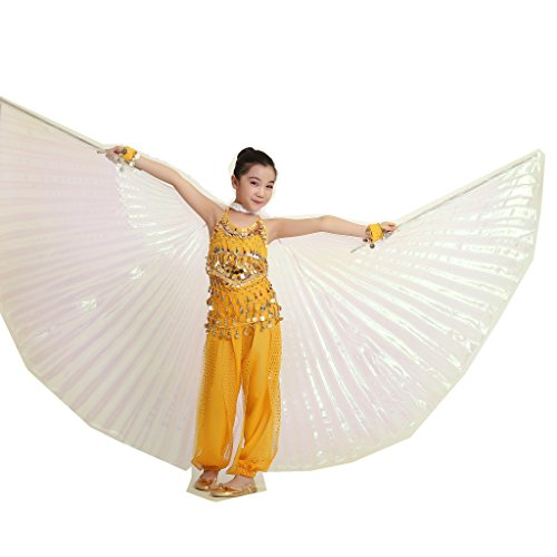Children's Isis Costume (MUNAFIE Halloween Costumes Belly Dance Isis Wings for Children Kids White (Only Wing without Sitcks and Bag))
