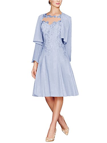 38b5aa93548 ... Women s Tea Length Lace Chiffon Mother of The Bride Dresses Two Pieces  with Jacket Lavender US18.   