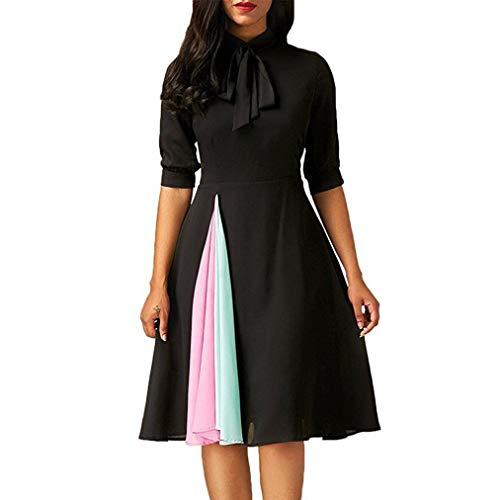 ❤️ Vestidos de Fiesta Mujer,Modaworld Vestido Casual de Manga Larga para Mujer Vestido de Fiesta de Noche para Mujeres Elegante Ropa de Cóctel Falda niña Vestir Negro