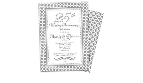 Amazon Com Silver 25th Wedding Anniversary Invitations Party Handmade