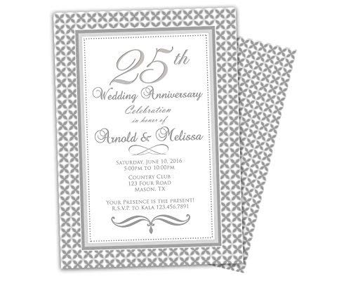 Image Unavailable. Image not available for. Color: Silver 25th Wedding Anniversary Invitations Party