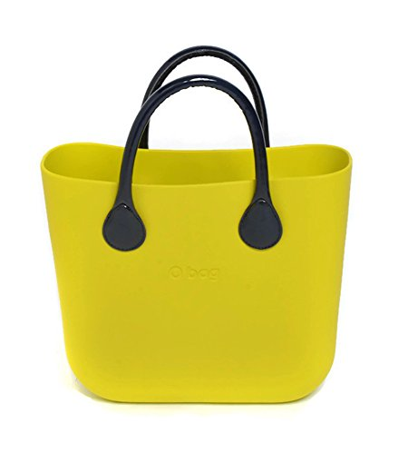 O Bag Mini in Lime with Short Navy Patent Eco Leather Handles