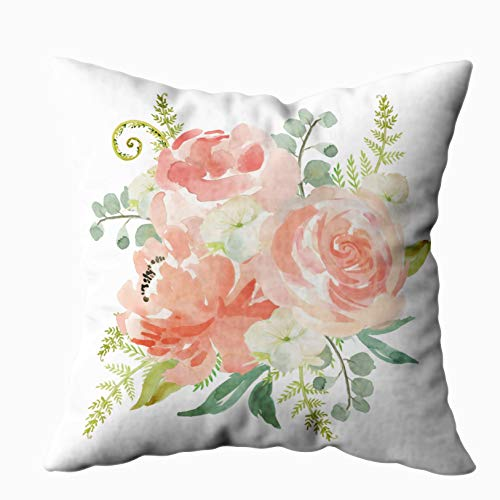 Capsceoll peaches and cream watercolor floral Decorative Throw Pillow Case 18X18Inch,Home Decoration Pillowcase Zippered Pillow Covers Cushion Cover with Words for Book Lover Worm Sofa Couch ()