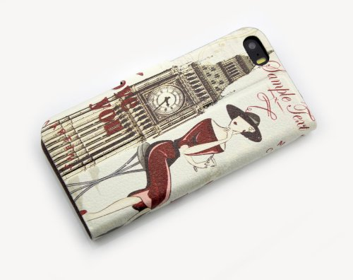 Nine States PU Leather Folio Flip Full Body Protection Retro Vintage Stylish The Big Ben and Elegant Lady Print Case Cover for Iphone 5 5S with Kickstand and Card Pouch