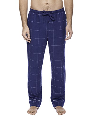 Men's Premium Flannel Lounge Pants - Windowpane Checks Dark Blue - 2XL