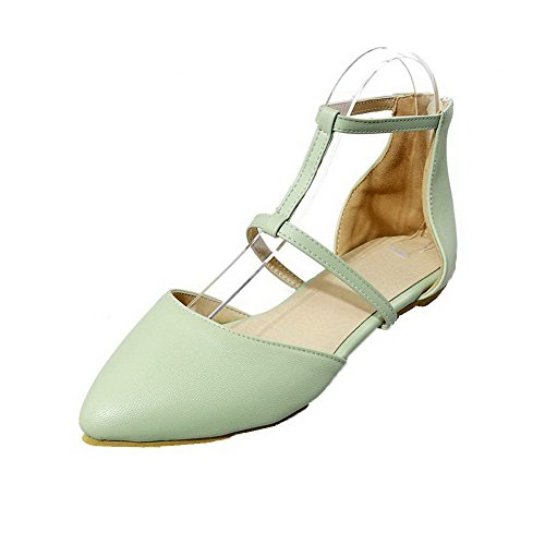Low Closed Womens Buckle PU Sandals Lightgreen Toe Solid AalarDom Heels OR46qnff
