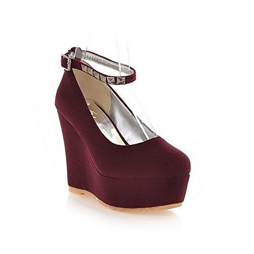 AllhqFashion Mujer Esmerilado PU Hebilla Tacón Alto Puntera Redonda ZapatosdeTacón Rojo