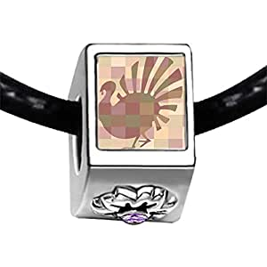 Chicforest Silver Plated Thanksgiving turkey display Photo Light Amethyst Crystal June Birthstone Flower Charm Beads Fits Pandora Charms