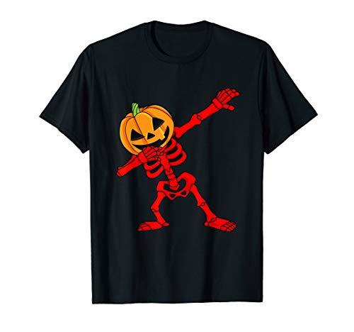 Dabbing Skeleton Pumpkin Head Halloween Dab Dance  T-Shirt ()