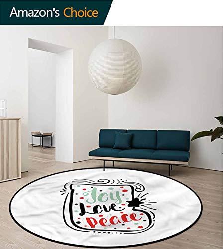 (RUGSMAT Joy Round Area Rug Carpet,Abstract Christmas Sock Door Mat Indoors Bathroom Mats Non Slip Diameter-35)
