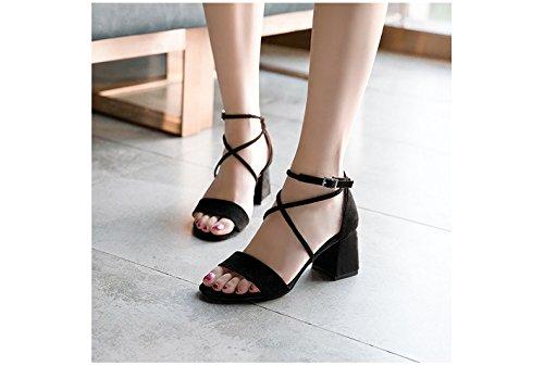 Avec Daim 1color En Sauvage Boucle Talons Pour Et Femmes Hauts Velcro Chaussures Sandales 7vYIBBC