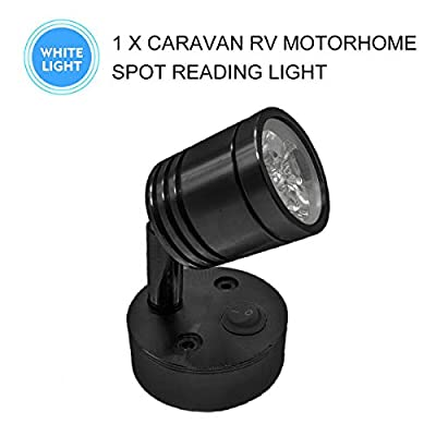 MASO 12V Motorhome Camper Van Caravan Boat 3LED Spot Reading Light Interior Lighting Wall Lamp with Switch: Automotive