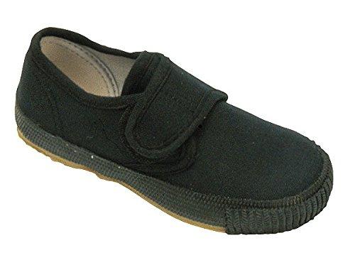Mirak Velcro Textile Lined Plimsolls - Black - Size 3 4 5 Black
